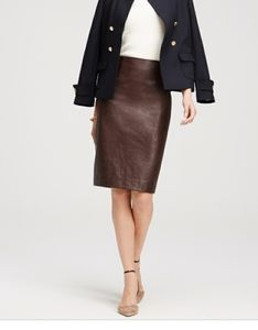 Ann Taylor faux leather brown pencil skirt